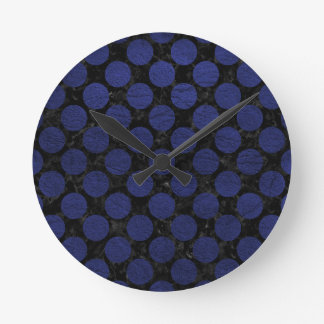 CIRCLES2 BLACK MARBLE & BLUE LEATHER ROUND CLOCK