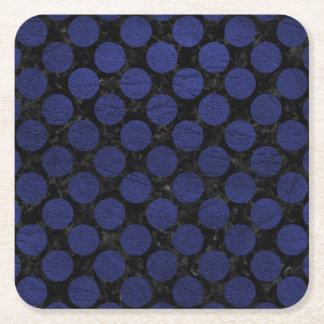 CIRCLES2 BLACK MARBLE & BLUE LEATHER SQUARE PAPER COASTER