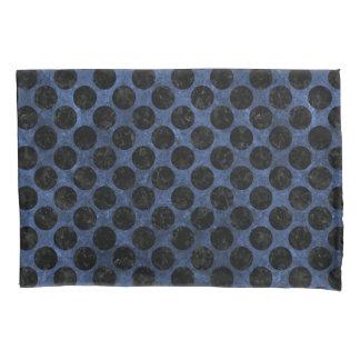 CIRCLES2 BLACK MARBLE & BLUE STONE (R) PILLOWCASE