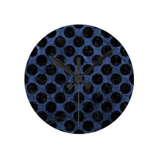 CIRCLES2 BLACK MARBLE & BLUE STONE (R) ROUND CLOCK