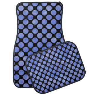 CIRCLES2 BLACK MARBLE & BLUE WATERCOLOR CAR MAT