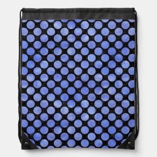 CIRCLES2 BLACK MARBLE & BLUE WATERCOLOR DRAWSTRING BAG
