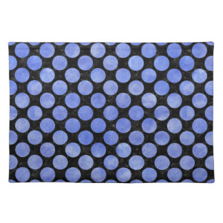 CIRCLES2 BLACK MARBLE & BLUE WATERCOLOR PLACEMAT