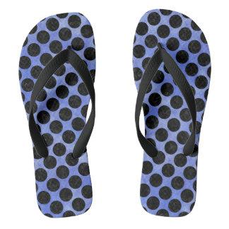 CIRCLES2 BLACK MARBLE & BLUE WATERCOLOR (R) FLIP FLOPS