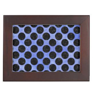 CIRCLES2 BLACK MARBLE & BLUE WATERCOLOR (R) KEEPSAKE BOX
