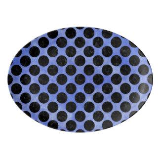 CIRCLES2 BLACK MARBLE & BLUE WATERCOLOR (R) PORCELAIN SERVING PLATTER