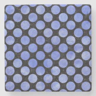 CIRCLES2 BLACK MARBLE & BLUE WATERCOLOR STONE COASTER