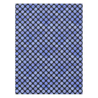 CIRCLES2 BLACK MARBLE & BLUE WATERCOLOR TABLECLOTH