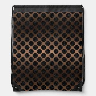 CIRCLES2 BLACK MARBLE & BRONZE METAL (R) DRAWSTRING BAG