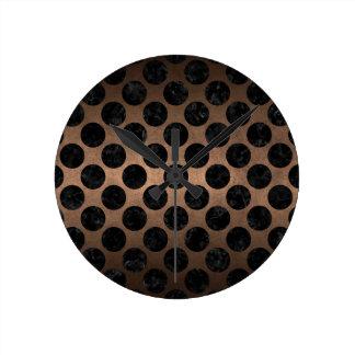 CIRCLES2 BLACK MARBLE & BRONZE METAL (R) ROUND CLOCK