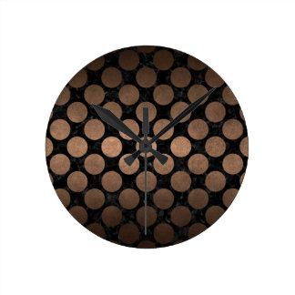 CIRCLES2 BLACK MARBLE & BRONZE METAL ROUND CLOCK