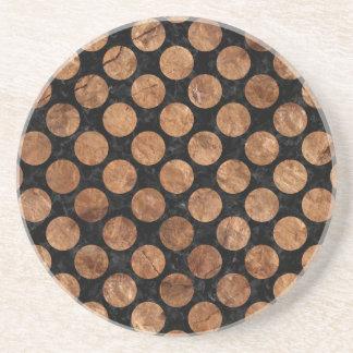 CIRCLES2 BLACK MARBLE & BROWN STONE COASTER