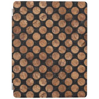 CIRCLES2 BLACK MARBLE & BROWN STONE iPad COVER