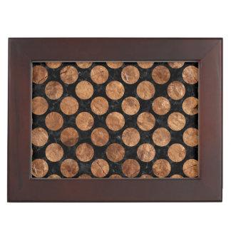 CIRCLES2 BLACK MARBLE & BROWN STONE KEEPSAKE BOX