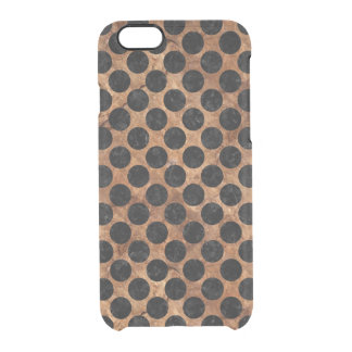CIRCLES2 BLACK MARBLE & BROWN STONE (R) CLEAR iPhone 6/6S CASE