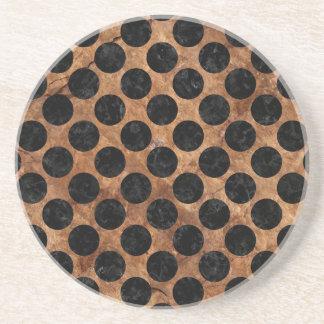 CIRCLES2 BLACK MARBLE & BROWN STONE (R) COASTER