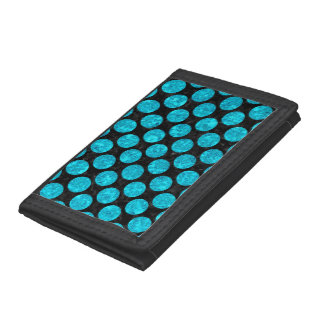 CIRCLES2 BLACK MARBLE & TURQUOISE MARBLE TRI-FOLD WALLET