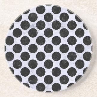 CIRCLES2 BLACK MARBLE & WHITE MARBLE (R) COASTER