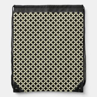 CIRCLES3 BLACK MARBLE & BEIGE LINEN DRAWSTRING BAG