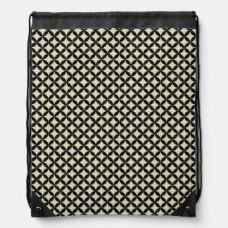 CIRCLES3 BLACK MARBLE & BEIGE LINEN (R) DRAWSTRING BAG