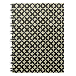 CIRCLES3 BLACK MARBLE & BEIGE LINEN (R) NOTEBOOK