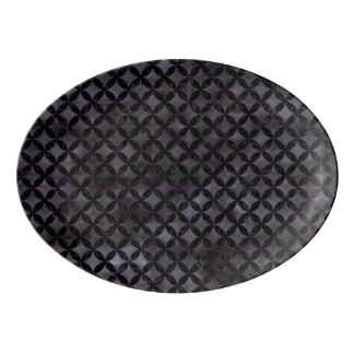 CIRCLES3 BLACK MARBLE & BLACK WATERCOLOR (R) PORCELAIN SERVING PLATTER