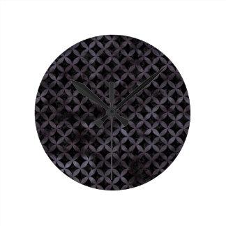CIRCLES3 BLACK MARBLE & BLACK WATERCOLOR ROUND CLOCK