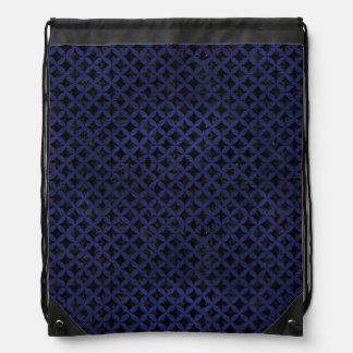 CIRCLES3 BLACK MARBLE & BLUE LEATHER DRAWSTRING BAG