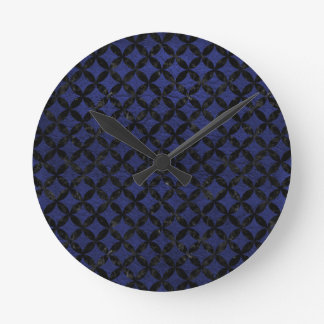 CIRCLES3 BLACK MARBLE & BLUE LEATHER (R) CLOCK