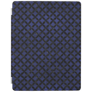 CIRCLES3 BLACK MARBLE & BLUE LEATHER (R) iPad COVER