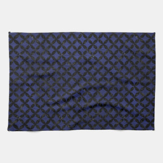 CIRCLES3 BLACK MARBLE & BLUE LEATHER (R) KITCHEN TOWEL
