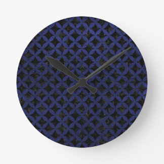 CIRCLES3 BLACK MARBLE & BLUE LEATHER ROUND CLOCK