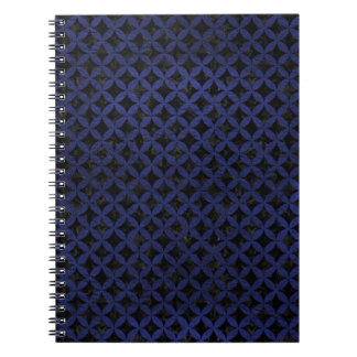 CIRCLES3 BLACK MARBLE & BLUE LEATHER SPIRAL NOTEBOOK