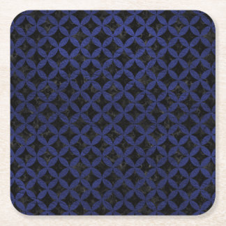 CIRCLES3 BLACK MARBLE & BLUE LEATHER SQUARE PAPER COASTER