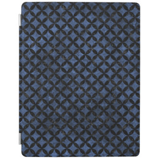 CIRCLES3 BLACK MARBLE & BLUE STONE (R) iPad COVER