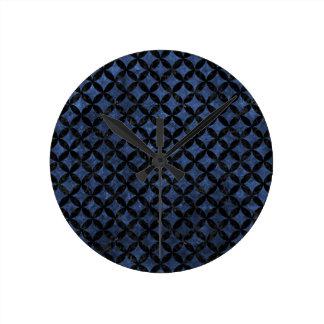 CIRCLES3 BLACK MARBLE & BLUE STONE (R) ROUND CLOCK
