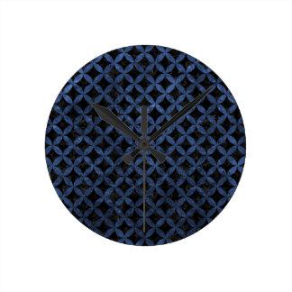CIRCLES3 BLACK MARBLE & BLUE STONE ROUND CLOCK