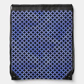CIRCLES3 BLACK MARBLE & BLUE WATERCOLOR DRAWSTRING BAG