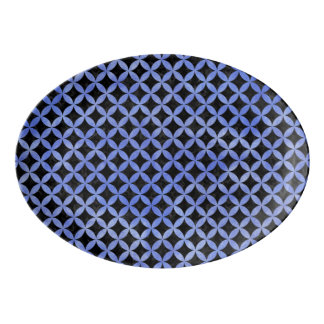CIRCLES3 BLACK MARBLE & BLUE WATERCOLOR PORCELAIN SERVING PLATTER