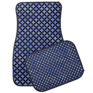 CIRCLES3 BLACK MARBLE & BLUE WATERCOLOR (R) CAR MAT