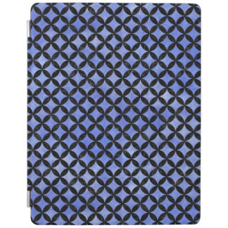 CIRCLES3 BLACK MARBLE & BLUE WATERCOLOR (R) iPad COVER