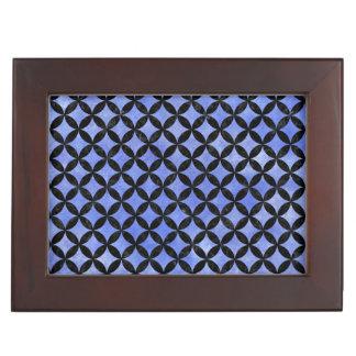 CIRCLES3 BLACK MARBLE & BLUE WATERCOLOR (R) KEEPSAKE BOX