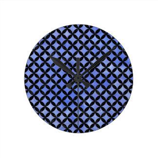 CIRCLES3 BLACK MARBLE & BLUE WATERCOLOR (R) ROUND CLOCK