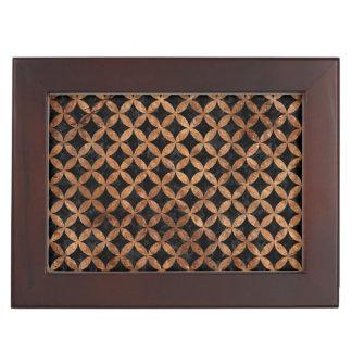 CIRCLES3 BLACK MARBLE & BROWN STONE KEEPSAKE BOX