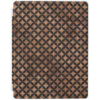 CIRCLES3 BLACK MARBLE & BROWN STONE (R) iPad COVER