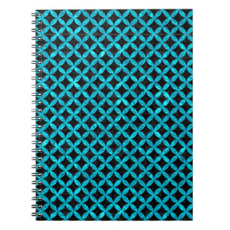 CIRCLES3 BLACK MARBLE & TURQUOISE MARBLE SPIRAL NOTEBOOK