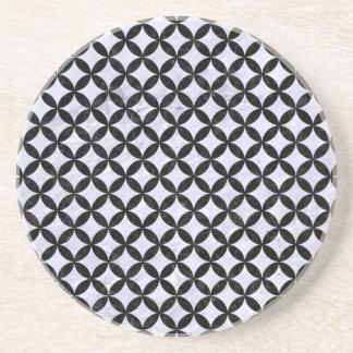 CIRCLES3 BLACK MARBLE & WHITE MARBLE (R) COASTER