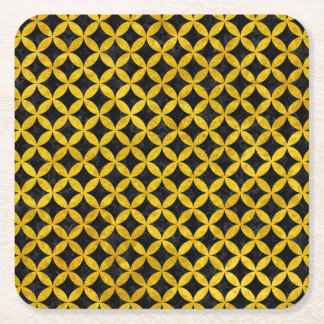 CIRCLES3 BLACK MARBLE & YELLOW MARBLE SQUARE PAPER COASTER