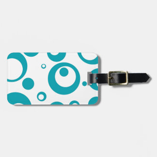 Circles and Dots in Turquoiuse Teal Blue Luggage Tag