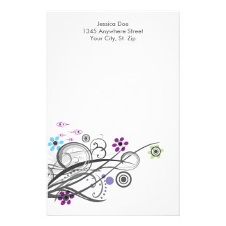 Circles and Loops Retro Personalized Stationery